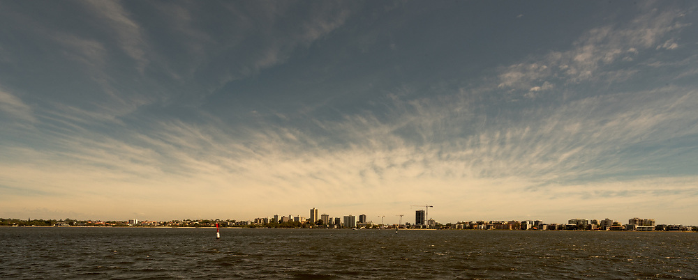 A distant view of Perth from the Swan River