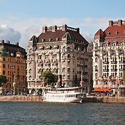 Hotels on Strandvagen in Ostermalm, Stockholm, Sweden. Hotel Esplanade is in the middle (Strandvagen 7A) and Hotel Diplomat on the right (Strandvagen 7C).