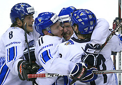 Team Finland (Selanne -8, Koivu Saku -11, Mikko Luoma -19) celebrates the last gold goal at play-off round quarterfinals ice-hockey game USA  vs Finland at IIHF WC 2008 in Halifax,  on May 14, 2008 in Metro Center, Halifax, Nova Scotia,Canada. Win of Finland 3 : 2. (Photo by Vid Ponikvar / Sportal Images)