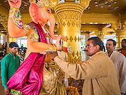 """05 SEPTEMBER 2016 - BANGKOK, THAILAND:  A Hindu priest prepares a statue of Ganesha on the first day of Ganesha Chaturthi celebrations at Shiva Temple in Bangkok. Ganesha Chaturthi also known as Vinayaka Chaturthi, is the Hindu festival celebrated on the day of the re-birth of Lord Ganesha, the son of Shiva and Parvati. The festival, also known as Ganeshotsav (""""Festival of Ganesha"""") is observed in the Hindu calendar month of Bhaadrapada. The date usually falls between 19 August and 20 September. The festival lasts for 10 days, ending on Anant Chaturdashi. Ganesha is a widely worshipped Hindu deity and is revered by many Thai Buddhists. Ganesha is widely revered as the remover of obstacles, the patron of arts and sciences and the deva of intellect and wisdom.     PHOTO BY JACK KURTZ"""