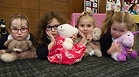 18/01/2018 Roisin Davey, Abbie D'Arcy, Grace McClean Holly Flanagan from Uachtar Ard with teddies,  at the Teddy Bear Hospital at NUI Galway.Students get used to dealing with Kids and Kids get a Hospital experience with a difference. Photo:Andrew Downes, XPOSURE