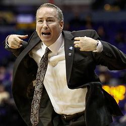 Feb 4, 2017; Baton Rouge, LA, USA; Texas A&M Aggies head coach Billy Kennedy reacts during the second half against the LSU Tigers at the Pete Maravich Assembly Center. Texas A&M defeated LSU 85-73. Mandatory Credit: Derick E. Hingle-USA TODAY Sports