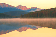 Patricia Lake and the Trident Range of the Canadian Rocky Mountains at sunrise<br />