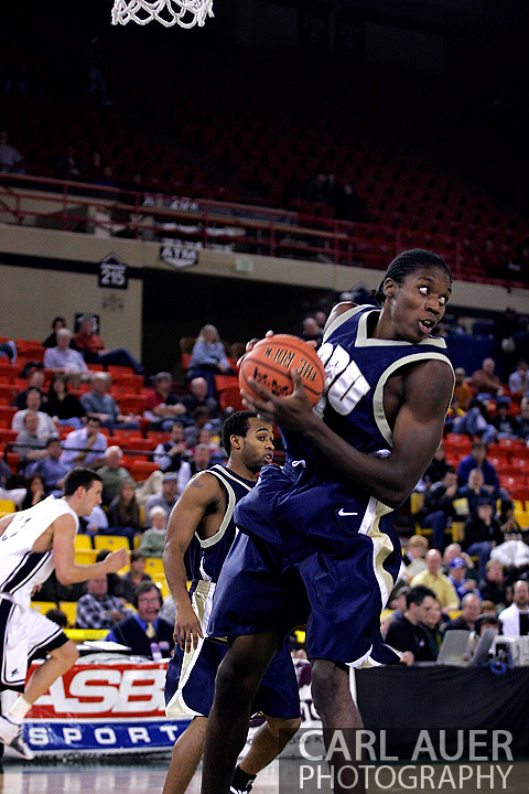 26 November 2005:  ORU senior forward, Larry Owens, grabs a rebound in the Oral Roberts University 62-54 victory over Monmouth University in the Great Alaska Shootout in Anchorage, Alaska
