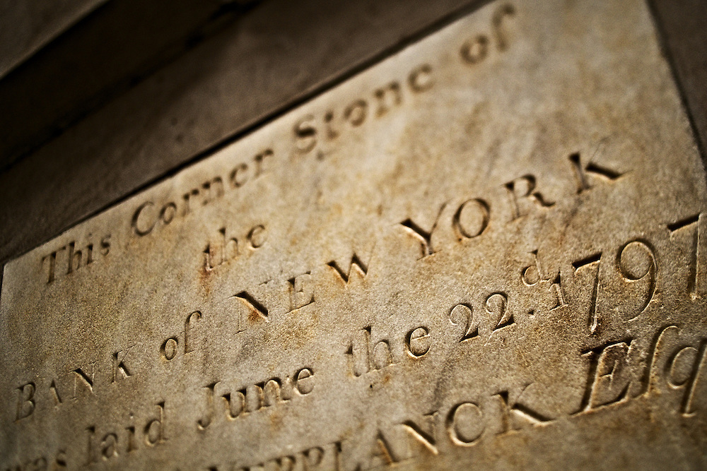 Cornerstone of  Bank of New York, dated June 22nd, 1797