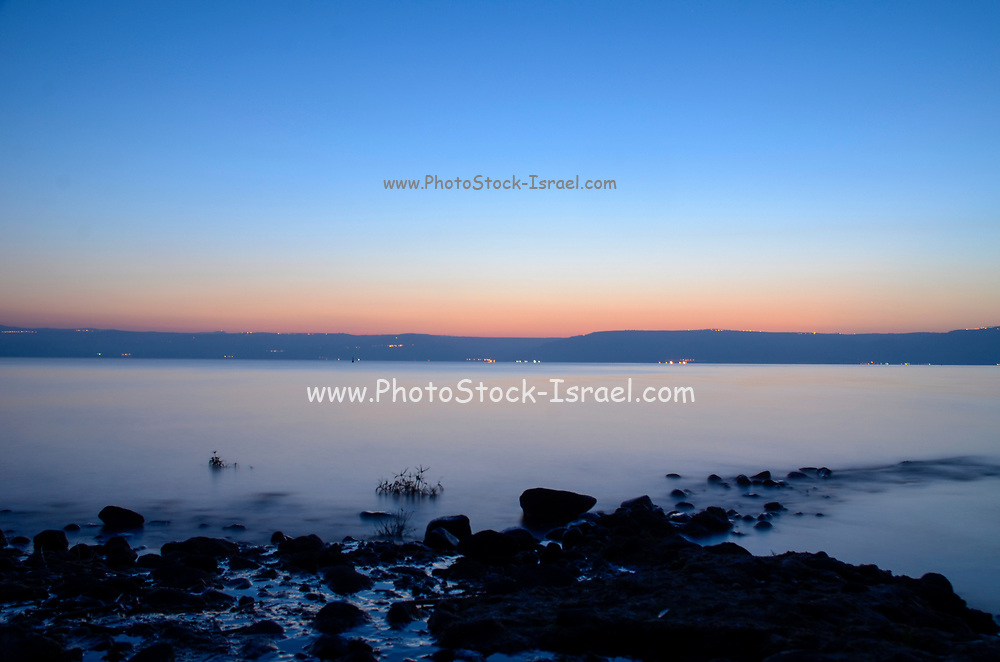 Misty dawn at the Sea of Galilee, Israel
