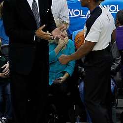 December 28, 2011; New Orleans, LA, USA; Boston Celtics head coach Doc Rivers talks with referee Tony Brown (6) during the second quarter of a game against the New Orleans Hornets  at the New Orleans Arena. The Hornets defeated the Celtics 97-78.   Mandatory Credit: Derick E. Hingle-US PRESSWIRE