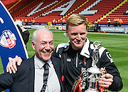 Bournemouth manager Eddie Howe and Bournemouth chairman Jeff Mostyn celebrate after winning the Sky Bet Championship after the Sky Bet Championship match between Charlton Athletic and Bournemouth at The Valley, London, England on 2 May 2015. Photo by David Charbit.
