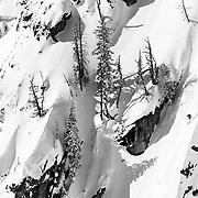 Lynsey Dyer skis an exposed line in-bounds in the Crags area of Jackson Hole Mountain Resort.