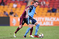 January 8, 2018 - Brisbane, QUEENSLAND, AUSTRALIA - Luke Wilkshire of Sydney (26, right) controls the ball in front of Corey Brown of the Roar (5) during the round fifteen Hyundai A-League match between the Brisbane Roar and Sydney FC at Suncorp Stadium on Monday, January 8, 2018 in Brisbane, Australia. (Credit Image: © Albert Perez via ZUMA Wire)