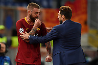 Eusebio Di Francesco and Daniele De Rossi of AS Roma during the Uefa Champions League 2018/2019 Group G football match between AS Roma and CSKA Moscow at Olimpico stadium Allianz Stadium, Rome, October, 23, 2018 <br />  Foto Andrea Staccioli / Insidefoto