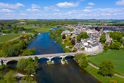Aerial view of town of Kelso beside River Tweed in Scottish Borders, Scotland, UK