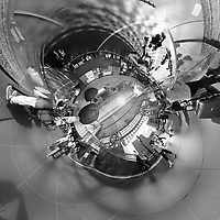 Inverse Little Planet View of the Kyoto Train Station. Composite of 91 images taken with a Leica CL camera and 18 mm f/2.8 lens (ISO 400, 18 mm, f/5.6, 1/60 sec). OOTC jpg images processed with AutoPano Giga Pro