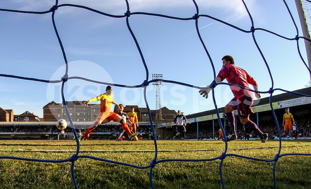 Barry Corr of Southend United slots home from close range to give Southend the lead for the 2nd time during the Sky Bet League 2 match between Southend United and Wycombe Wanderers at Roots Hall, Southend, England on 7 March 2015. Photo by Liam McAvoy.