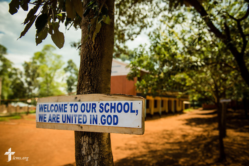 A sign greets visitors to the Othoro Mixed Secondary School adjacent to the Othoro ELCK (Evangelical Lutheran Church in Kenya) Project 24 boarding facility on Sunday, Oct. 18, 2015, in Kisumu, Kenya. LCMS Communications/Erik M. Lunsford