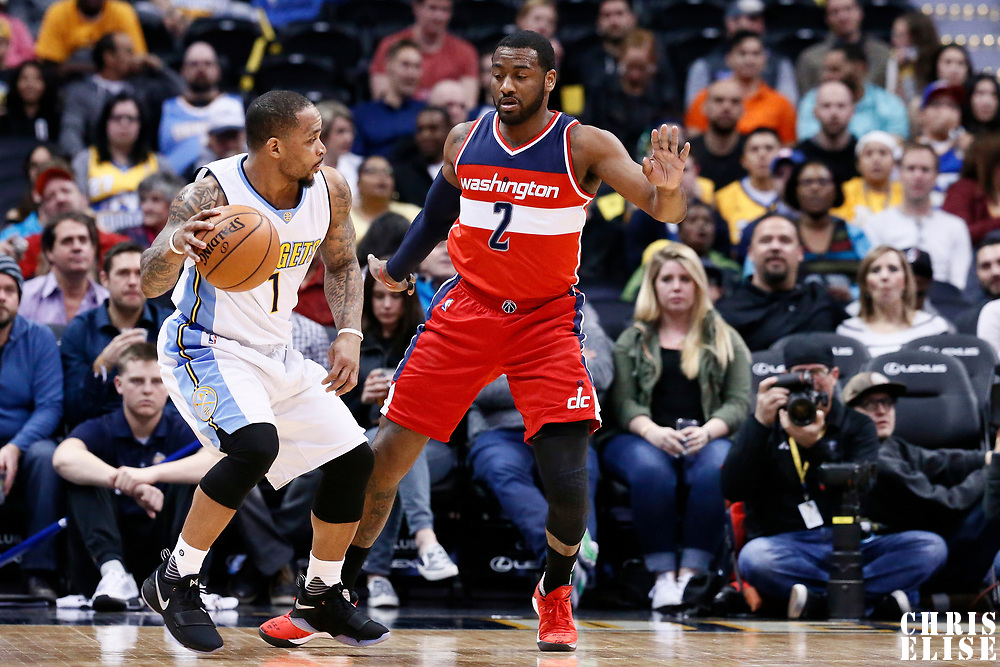 08 March 2017: Washington Wizards guard John Wall (2) defends on Denver Nuggets guard Jameer Nelson (1) during the Washington Wizards 123-113 victory over the Denver Nuggets, at the Pepsi Center, Denver, Colorado, USA.