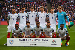 LONDON, ENGLAND - Sunday, March 26, 2017: England's players line up for a team group photograph before the 2018 FIFA World Cup Qualifying Group F match against Lithuania at Wembley Stadium. Back row L-R:  Kyle Walker, Dele Alli, Michael Keane, Eric Dier, John Stones, goalkeeper Joe Hart. Front row L-R: Raheem Sterling, Adam Lallana, Ryan Bertrand, Alex Oxlade-Chamberlain, Jermain Defoe. (Pic by David Rawcliffe/Propaganda)