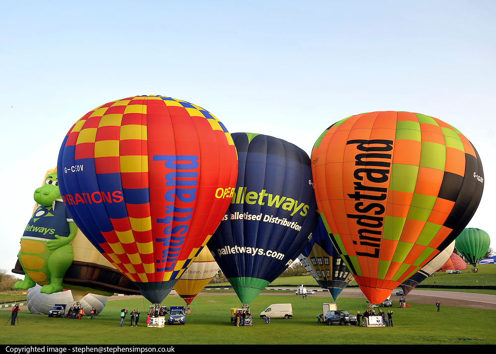 London News pictures. 07/04/2011. CANTERBURY: Approximately 50 hot air balloons from across the UK and Europe take advantage of the weather window and take off from Lydden Hill Race Circuit, Wootton, Kent, to fly across the English Channel marking the largest ever group of balloons to attempt the crossing. The participants  have been waiting since October for the event to happen. Picture credit should read Stephen Simpson/LNP
