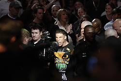 Dec 12, 2009; Memphis, TN, USA; Diego Sanchez heads to the ring for his bout against BJ Penn at UFC 107 at the FedEx Forum in Memphis, TN.  Penn retained his title when the bout was stopped on cuts in the 5th round.
