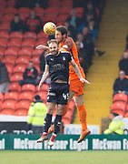 14th April 2018, Tannadice Park, Dundee, Scotland; Scottish Championship football, Dundee United versus Falkirk; Bilel Mohsni of Dundee United  beats Sean Welsh of Falkirk in the air