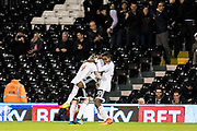 Fulham forward Sone Aluko (24), Fulham defender Ryan Sessegnon (30) celebrate 1st goal during the EFL Sky Bet Championship match between Fulham and Blackburn Rovers at Craven Cottage, London, England on 14 March 2017. Photo by Sebastian Frej.