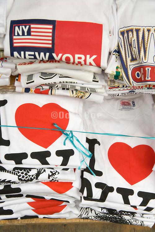 stacks of I Love NY T-shirts