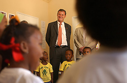 FRANSCHHOEK, SOUTH AFRICA - APRIL-30-2004 - &#xA;Marc Verwilghen , Belgian Minister of Development and Cooperation, visits a Day Care center in Franschhoek. The day care was started by the Franschhoek Belgian Development Trust and offers an affordable solution for underprivileged families so that the parents can go to work or school while their children are being cared for in a safe environment. (PHOTO © JOCK FISTICK)<br />