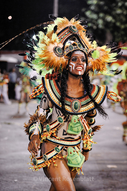 """Passistas"" dancers dressed as Amazon Indians. Imperatriz Leopoldinense Samba School portrays the Amazon state of Pará for the 2013 edition."