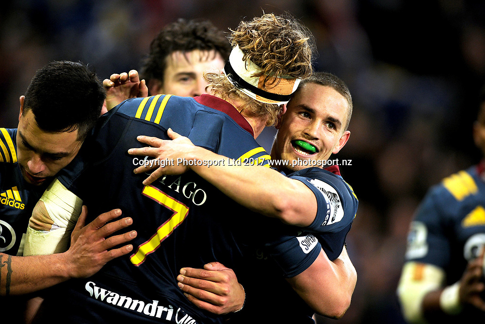Kayne Hammington of the Highlanders celebrates James Lentjes try during the Super Rugby match between the Highlanders and the Reds, held at Forsyth Barr Stadium, Dunedin, New Zealand, on 14th July 2017. Credit: Joe Allison / www.photosport.nz