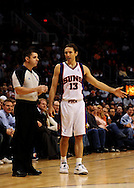 Jan. 6 2010; Phoenix, AZ, USA; Phoenix Suns guard Steve Nash (13) argues with a referee against the Houston Rockets at the US Airways Center. Phoenix Suns defeated the Houston Rockets 118-110. Mandatory Credit: Jennifer Stewart-US PRESSWIRE.