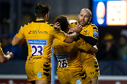 Dan Robson of Wasps celebrates with teammates after scoring a try - Mandatory by-line: Robbie Stephenson/JMP - 25/01/2020 - RUGBY - Sixways Stadium - Worcester, England - Worcester Warriors v Wasps - Gallagher Premiership Rugby