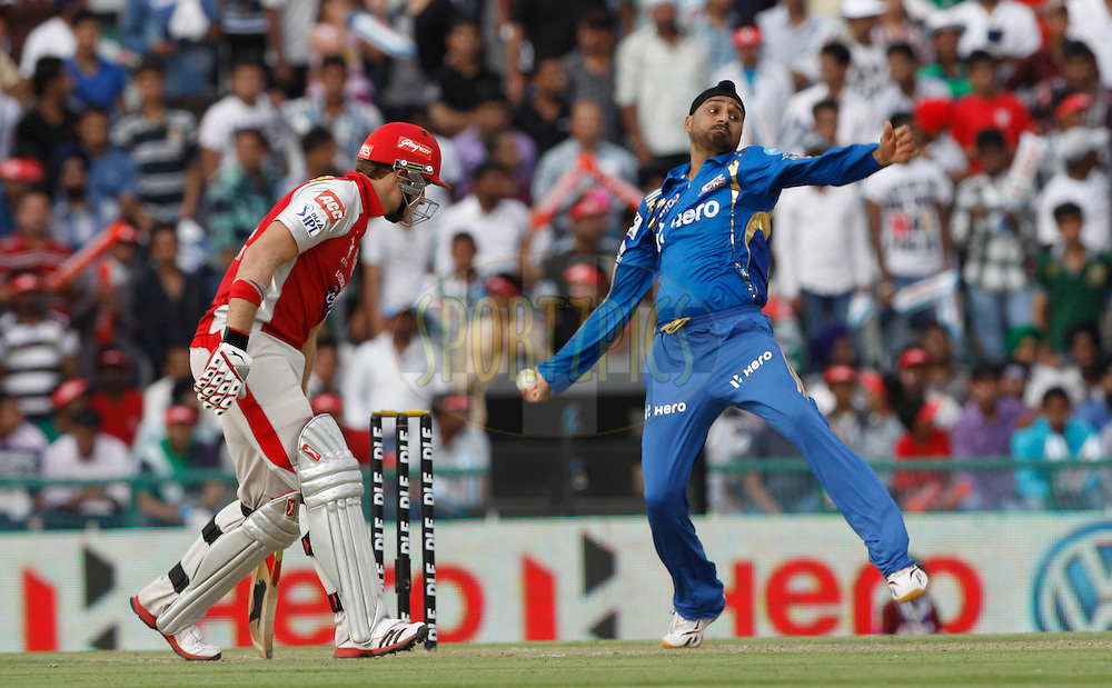 Mumbai Indian captain Harbhajan Singh bolws during match 33 of the the Indian Premier League ( IPL) 2012  between The Kings X1 Punjab and The Mumbai Indians held at the Punjab Cricket Association Stadium, Mohali on the 25th April 2012..Photo by Pankaj Nangia/IPL/SPORTZPICS