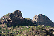 Africa, Ethiopia, Yeha, Lion shaped mountain rocks