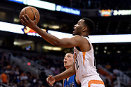 Apr 9, 2017; Phoenix, AZ, USA; Phoenix Suns forward TJ Warren (12) drives to the basket against the Dallas Mavericks in the second half of the NBA game at Talking Stick Resort Arena. The Suns won 124-111. Mandatory Credit: Jennifer Stewart-USA TODAY Sports