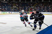 KELOWNA, CANADA - JANUARY 25:  Dallon Wilton #15 of the Kelowna Rockets stick checks Scott Walford #7 of the Victoria Royals during second period on January 25, 2019 at Prospera Place in Kelowna, British Columbia, Canada.  (Photo by Marissa Baecker/Shoot the Breeze)