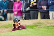 Tommy Fleetwood of England in a bunker during the British Masters 2018 at Walton Heath Golf Course, Walton On the Hill, Surrey  on 11 October 2018. Picture by Martin Cole.