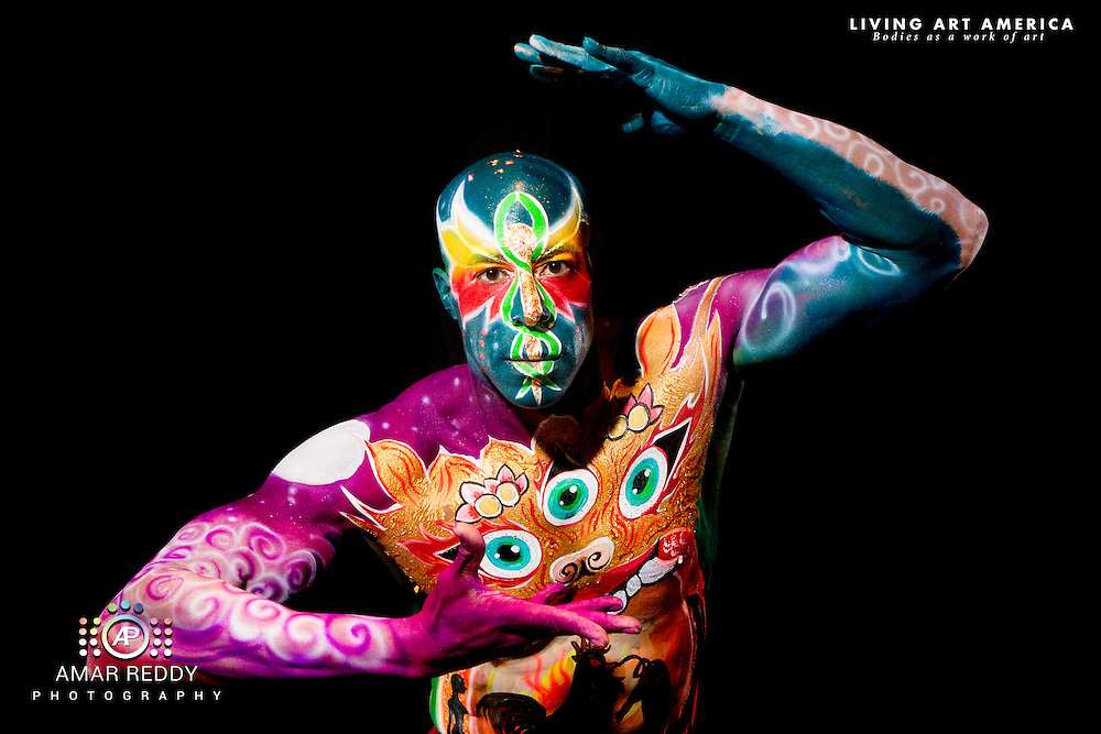 Living Art America::The Bodies Works of Art::The North American Body Painting Championship | A World Body-painting Association Sanctioned Event <br /> <br /> Artist: Liliana Hopman, <br /> Model: Dyon,<br /> Photographer: Amar Reddy<br /> <br /> www.livingartamerica.com<br /> www.AmarPhotography.com