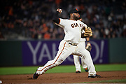 San Francisco Giants third baseman Pablo Sandoval (48) fields a ground ball against the Milwaukee Brewers at AT&T Park in San Francisco, California, on August 21, 2017. (Stan Olszewski/Special to S.F. Examiner)