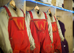 Behind the scenes at Charlie and the Chocolate Factory.<br /> Oompa Loompa costumes at the Theatre Royal Drury Lane where the cast of Charlie and the Chocolate Factory are getting ready for another show before this week's opening night.<br /> London, United Kingdom      <br /> 19th June 2013<br /> Picture by Helen Maybanks / i-Images