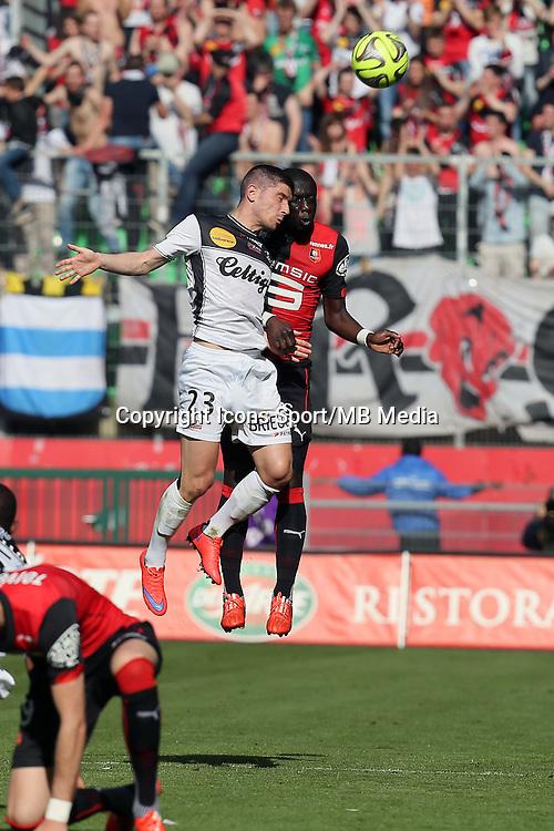 Jeremy PIED / Cheik MBENGUE - 12.04.2015 - Rennes / Guingamp - 32eme journee de Ligue 1 <br />Photo : Vincent Michel / Icon Sport