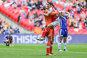 Arsenal players celebrate at the final whistle during the SSE Women's FA Cup Final match between Chelsea Ladies and Arsenal Ladies at Wembley Stadium, London, England on 14 May 2016. Photo by Shane Healey.