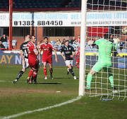 Stephen McGinn (left) scores Dundee's equaliser - Dundee v Aberdeen, SPFL Premiership at Dens Park<br /> <br />  - &copy; David Young - www.davidyoungphoto.co.uk - email: davidyoungphoto@gmail.com