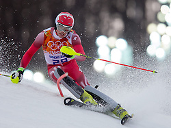 22.02.2014, Rosa Khutor Alpine Resort, Krasnaya Polyana, RUS, Sochi, 2014, Slalom, Herren, 1. Durchgang, im Bild Daniel Yule (SUI) // Daniel Yule of Switzerland in action during the 1st run of mens Slalom to the Olympic Winter Games Sochi 2014 at the Rosa Khutor Alpine Resort, Krasnaya Polyana, Russia on 2014/02/22. EXPA Pictures © 2014, PhotoCredit: EXPA/ Johann Groder