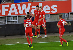 CARDIFF, WALES - Thursday, September 6, 2018: Wales' Gareth Bale celebrates scoring the second goal during the UEFA Nations League Group Stage League B Group 4 match between Wales and Republic of Ireland at the Cardiff City Stadium. (Pic by Laura Malkin/Propaganda)
