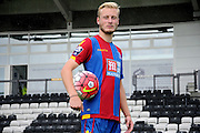 Christian Scales modelling the new kit after the Final Third Development League match between U21 Crystal Palace and U21 Hull City at Selhurst Park, London, England on 10 August 2015. Photo by Michael Hulf.
