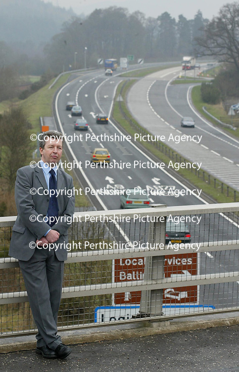 Deputy Minister for Transport Lewis Macdonald pictured at the accident blackspot at Ballinluig on the A9 after announcing that &pound;4.2m will be spent on improving the junction to make it safer.<br />The announcement comes one year after four Israelis were killed at the junction.<br /><br />Picture by Graeme Hart.<br />Copyright Perthshire Picture Agency<br />Tel: 01738 623350  Mobile: 07990 594431