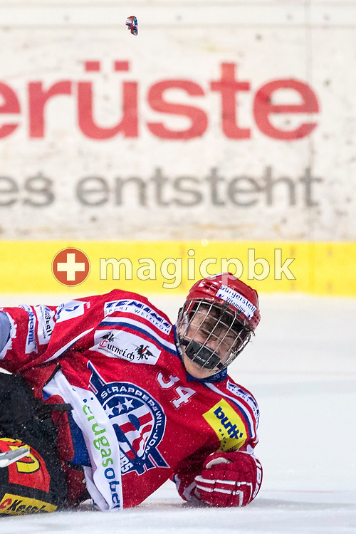 Rapperswil-Jona Lakers defenseman Janis Egger lost his mouthguard during the third Elite B Playoff Final ice hockey game between Rapperswil-Jona Lakers and ZSC Lions held at the SGKB Arena in Rapperswil, Switzerland, Wednesday, Mar. 15, 2017. (Photo by Patrick B. Kraemer / MAGICPBK)