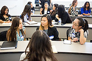 Megan Ortiz, Alyssa Valiente, Brenda Alvarado, Vy Bui during the first event of the Mihaylo College of Business and Economics Women's Leadership Program at California State University Fullerton  on Friday, Nov. 6, 2015 in Fullerton, California.