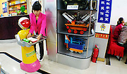 """HARBIN, CHINA - JUNE 07: (CHINA OUT) <br /> <br /> A robot waiter which could cook at Liu Hasheng Robot Restaurant on June 7, 2015 in Harbin, Heilongjiang province of China. A Haiying robot manufacturer in north China\'s Harbin Harbin Economic and Technological Development Zone has developed into a comprehensive company where multifunctional robots could be made out to work on the land, in water and air. Liu Hasheng, chief manager and founder of the robot manufacturer, opened the first conprehensive robots restaurant in China with \""""waiters\"""" produced by his own company. According to Liu Hasheng, those robot waiters have been sold out throught out country and his orders has also a great business opportunity in the future. <br /> ©Exclusivepix Media"""