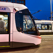 CAF Urbos streetcars along the Kansas City, Missouri Main Street line.